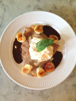 Chocolate and Praline Crepe with caramelised bananas and chantilly cream.