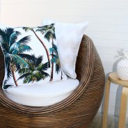 Oasis Palm Trees outdoor cushion by Escape to Paradise.