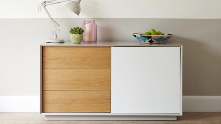 Glide Grey White Gloss And Oak Sideboard Lifestyle