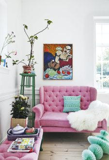 Pink Velvet Sofa from Sisters Guild.