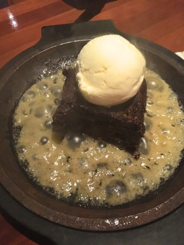 Brownie with vanilla ice cream and agave vanilla butter