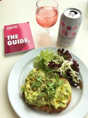 Munching on Avocado Toast at Albion while I flick through The Guide