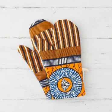 Bespoke Binny orange and blue geometric oven mitts